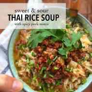 Easy Thai Rice Soup with Pork Mince