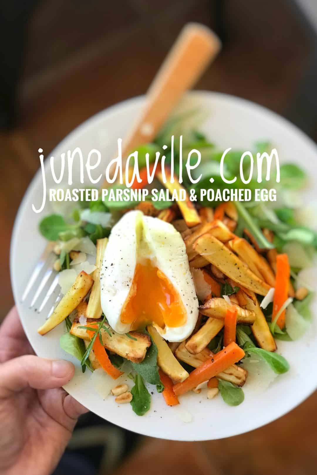 My roasted carrot and parsnip salad with a creamy poached eggs on top, garnished with pine nuts and shaved parmesan cheese... the perfect winter salad!
