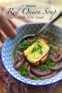 You will love this sweet and subtle red onion soup recipe! Sliced red onions in a simple broth, topped with grilled brie toast!