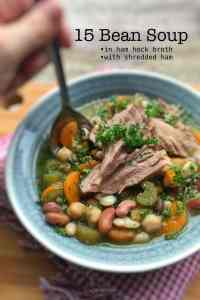 My very famous 15 bean soup... with a gorgeous fatty chunk of ham hock in it. Flavor bomb! And a great winter dish for bean and meat lovers...