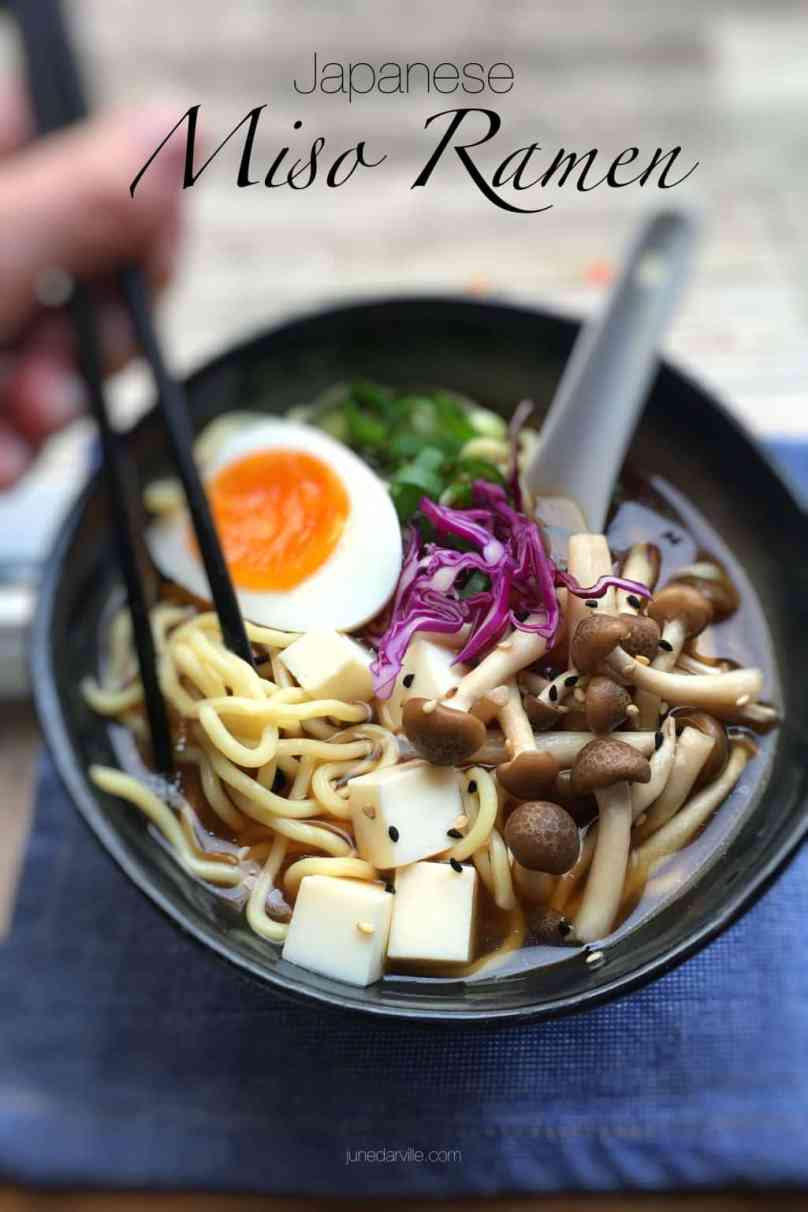 Noodles, miso broth, mushrooms, spring onion, tofu and a creamy soft-boiled egg; you can make this simple Japanese miso ramen at home!