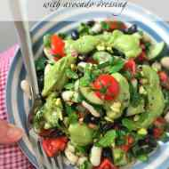 Easy Avocado Dressing for Mixed Bean Salad