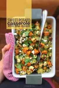 Feta and sweet potato casserole with olive oil and dried thyme... color and flavor overdose! And what a healthy lunch idea!