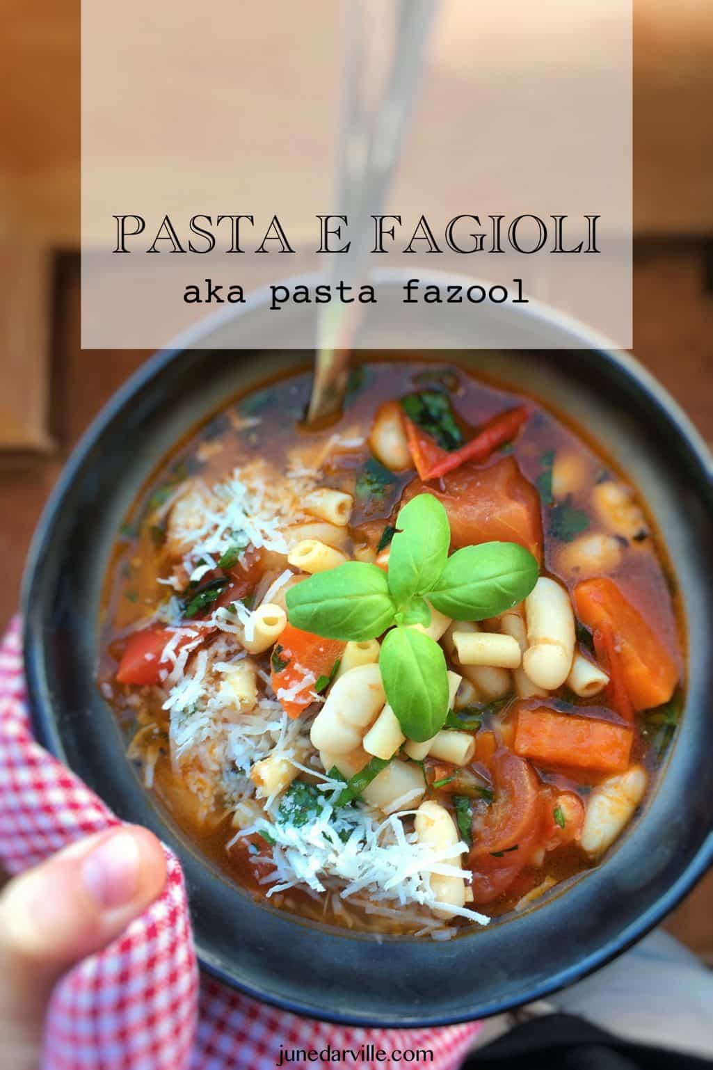 A classic Italian pasta and bean soup with fresh tomatoes and basil: here is my homemade pasta fazool soup with pasta and beans!
