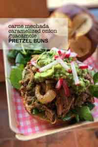 Time for a fiesta lunch! Leftover pulled pork pretzel buns topped with some caramelized onion and a dollop of guacamole...