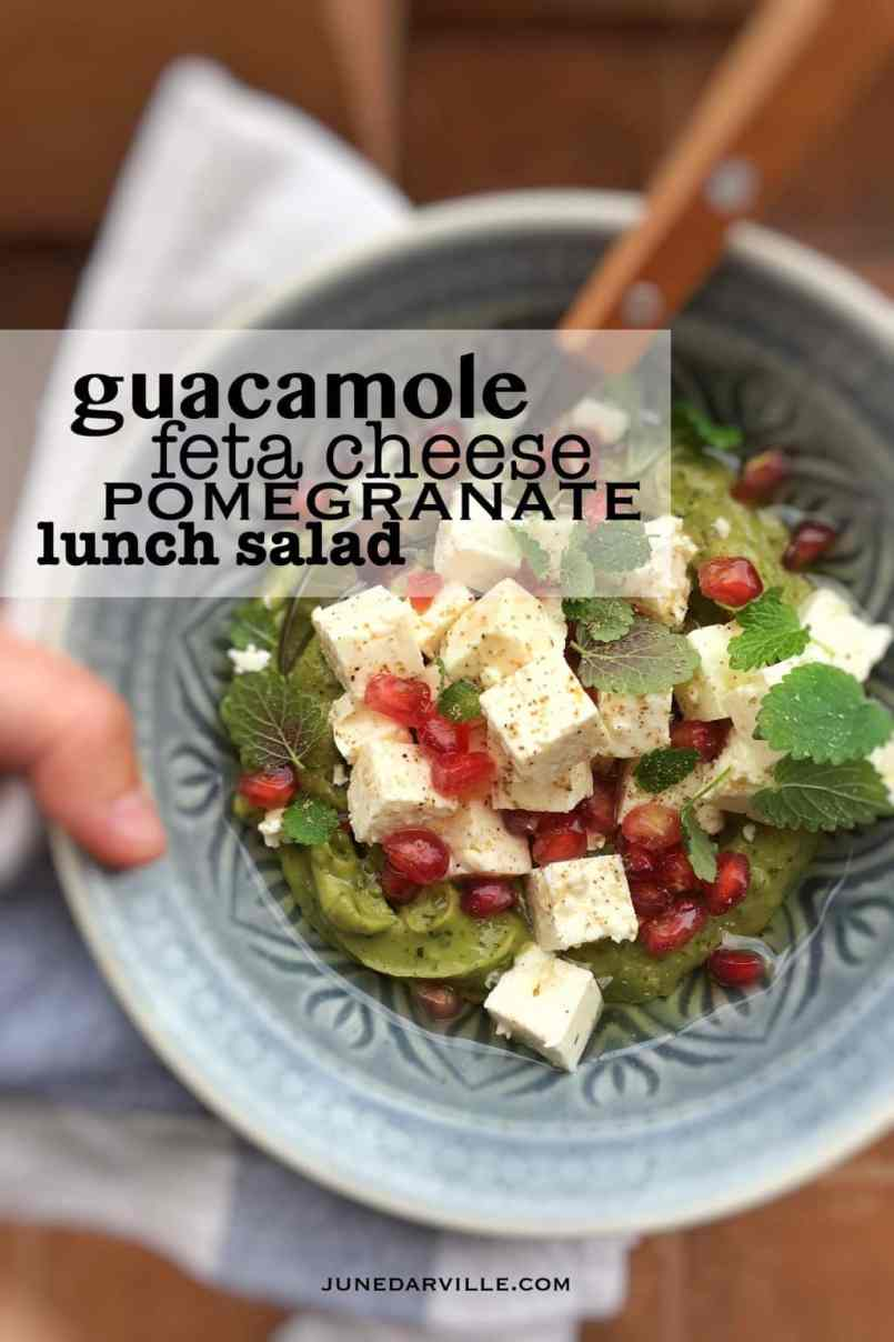 This simple avocado feta lunch salad tastes great with some crunchy garlic bread! Fresh avocados, I can't get enough of them!