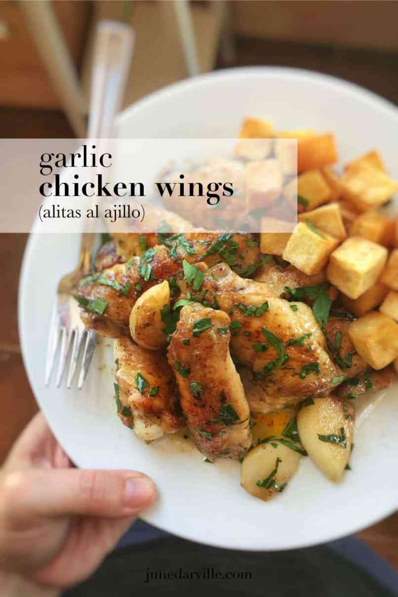 Familiar with pollo al ajillo? Then you will know what these pan fried garlic chicken wings in white wine are all about! Enjoy...