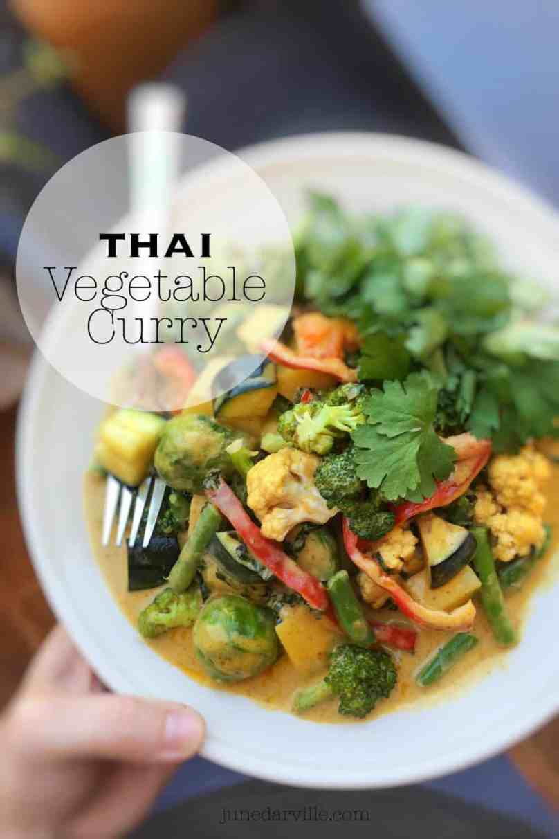 A bunch of different crunchy and colorful vegetables in a creamy sauce... I can never get enough of this yellow Thai vegetable curry!