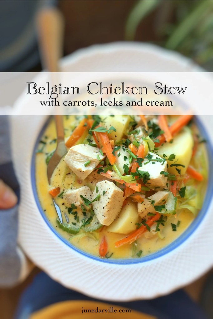 Look at this delicious waterzooi recipe! Do try out my chunky chicken stew with fresh leeks, celery, carrots and lots of cream... This is Belgian comfort food!
