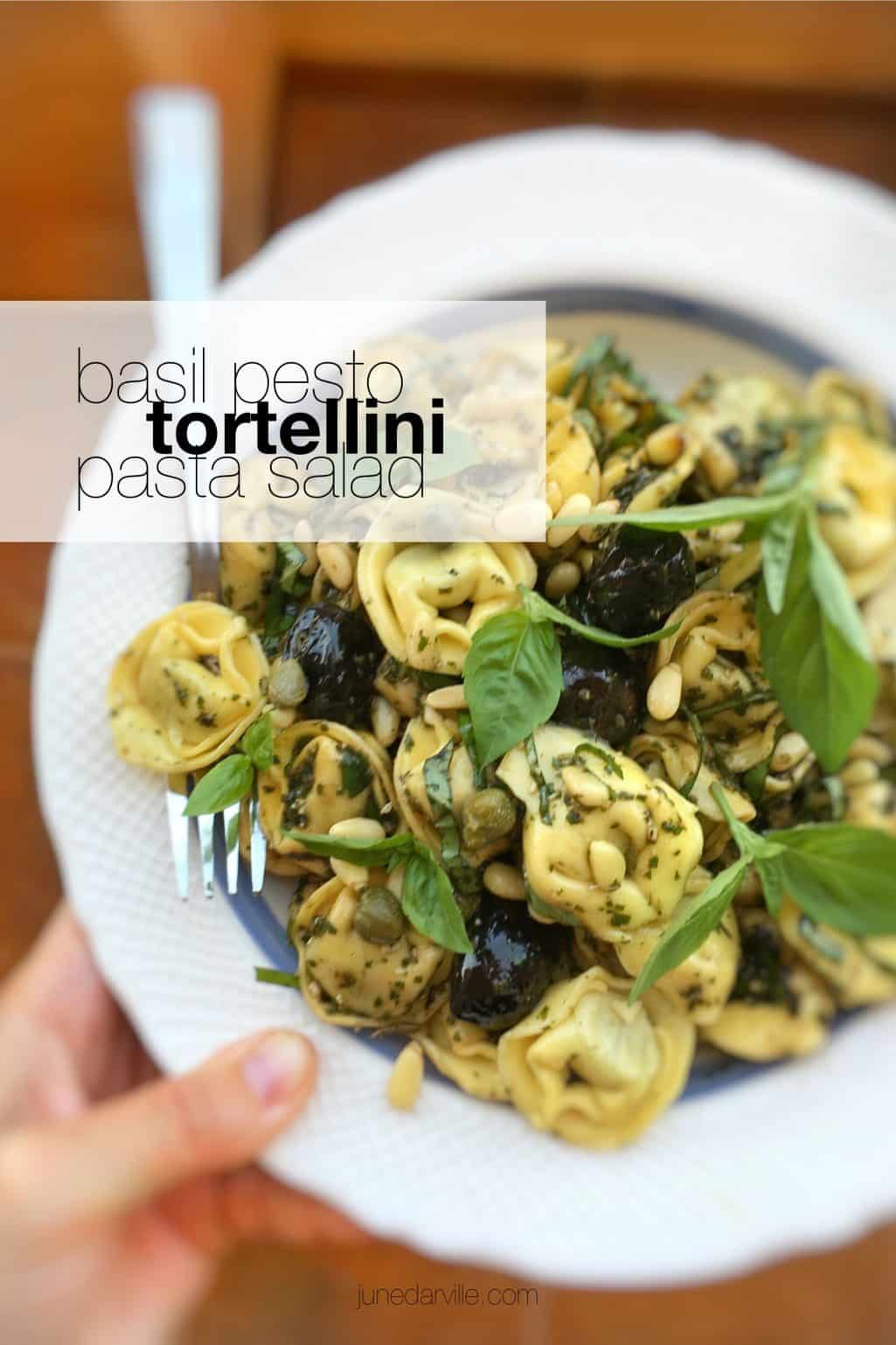 Serve this fresh basil pesto tortellini pasta salad warm or cold: as a hot pasta dinner… or tasty cold lunchbox salad to take with you!