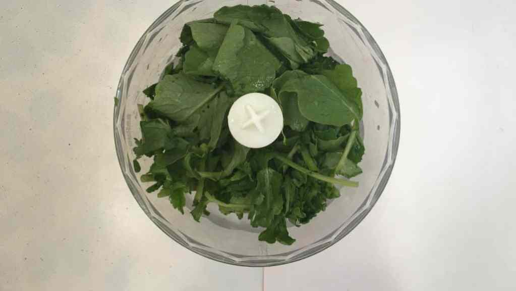 Don't throw away fresh radish leaves! Better make a tasty radish leaf pesto with them! This pesto is great on sandwiches, salads or steak!