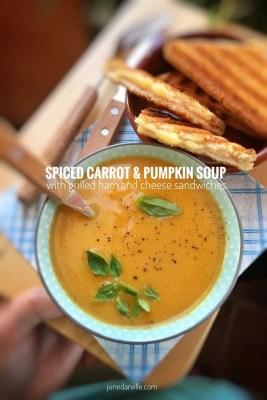 Easy Carrot Pumpkin Soup with Ham & Cheese Sammies