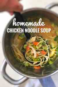 Classic chicken noodle soup or shredded chicken, noodles, vegetables in a flavorful homemade chicken broth prepared from scratch!