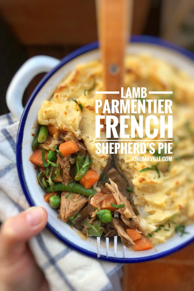 Let's get creative with leftovers! I turned last night's roast lamb shoulder into a hearty lamb parmentier casserole for our dinner: a French shepherd's pie!