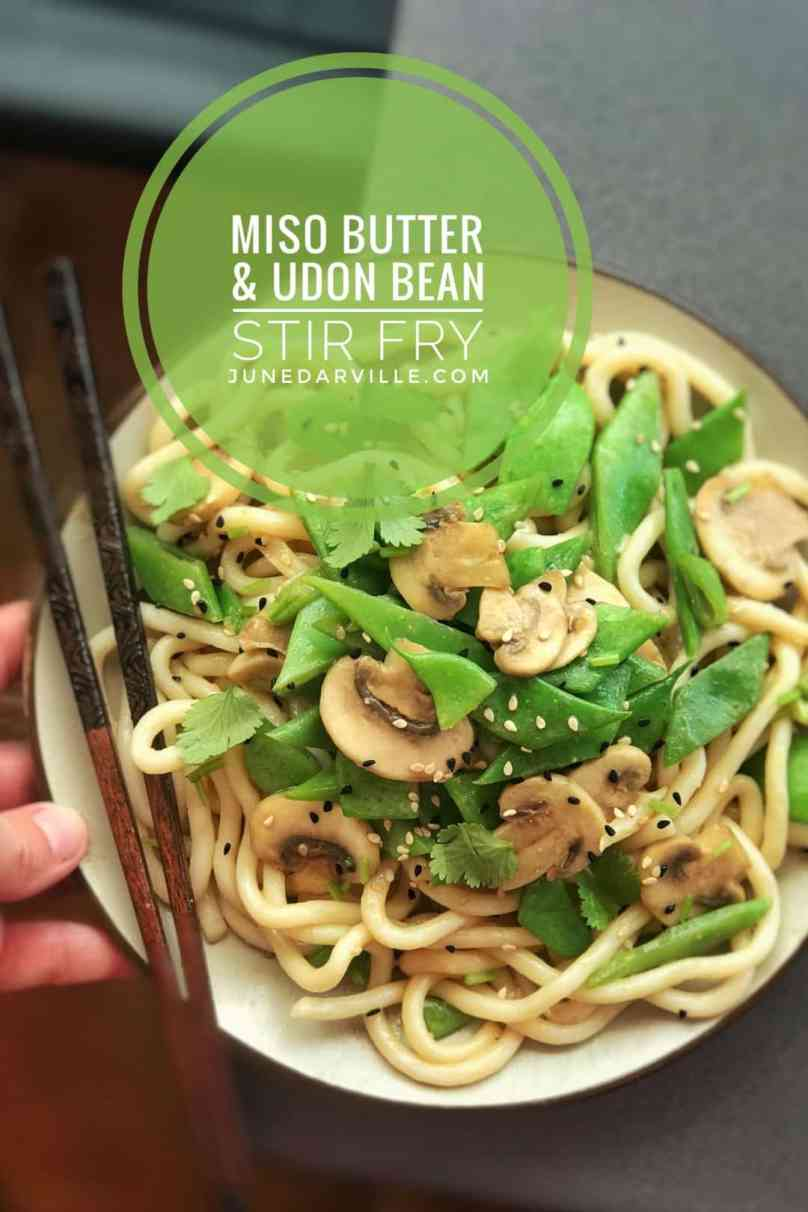 Looking for a quick and easy noodle recipe? Try this savory flat bean stirfry with udon noodles and a silky soft and smooth miso butter sauce!
