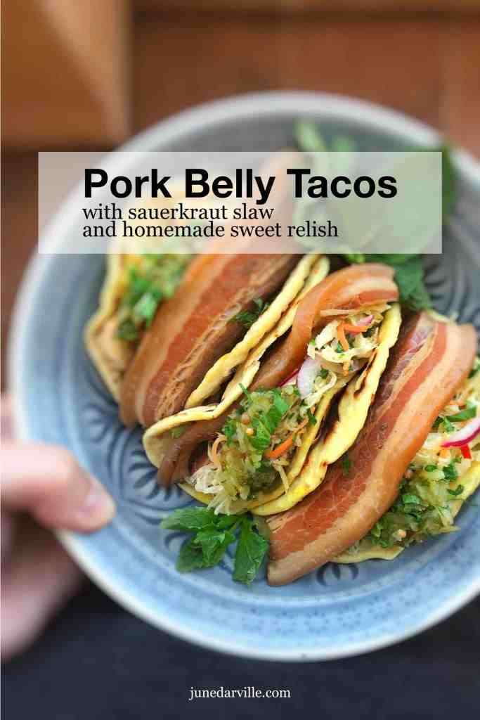 Beer and soy sauce braised pork belly tacos topped off with a refreshing sauerkraut salad and a dollop of homemade sweet relish... These tacos are to die for!