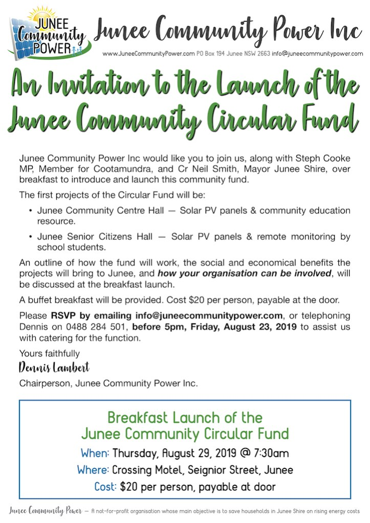 Invite to Junee Community Power's Launch of the Junee Circular Fund Breakfast Launch