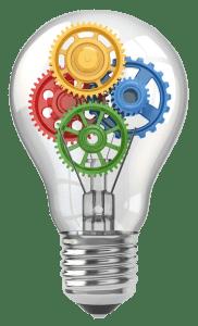 ideas gears light globe