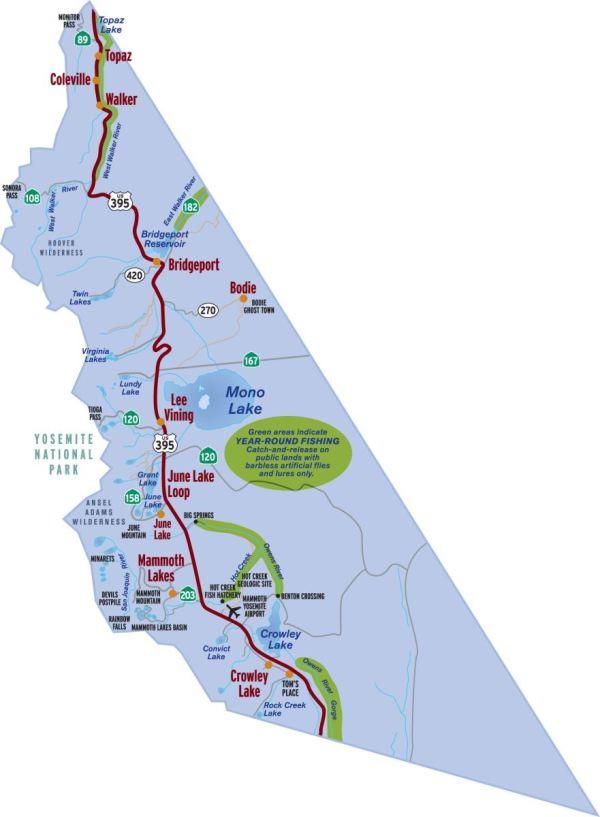 Map of June Lake Vacation Rentals and Mono County Fishing Map