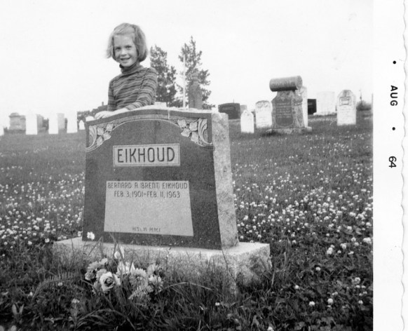 The first of many visits to June's father's grave. Heather in 1964.