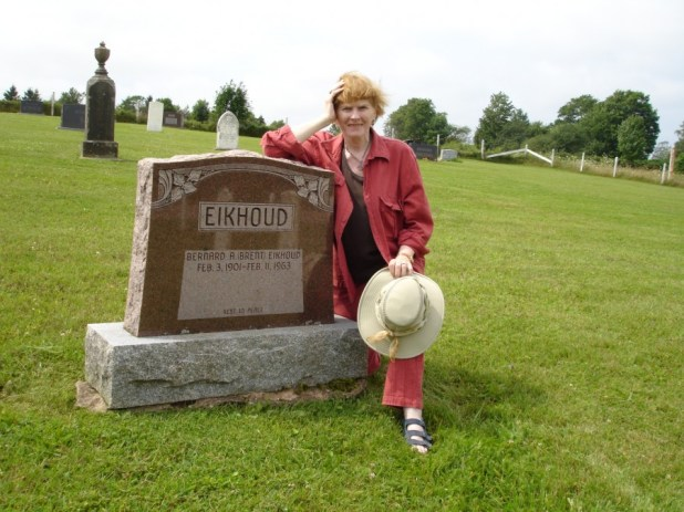 Visiting her father's grave in PEI