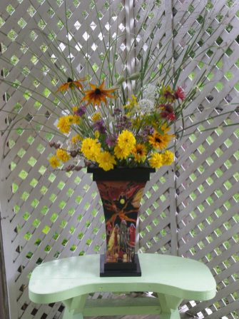 Flowers and ornamental grasses from June's garden
