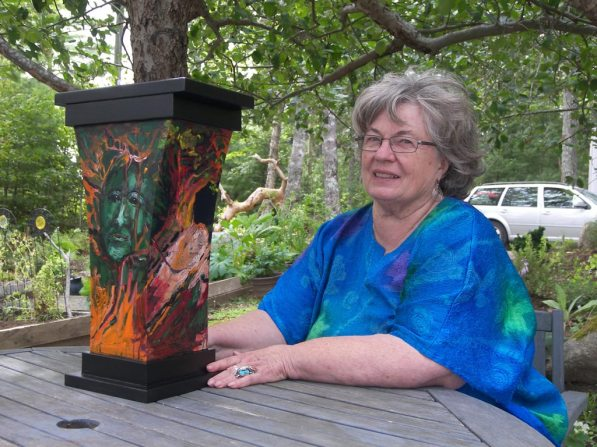 Artist Eliza Schurman with the urn