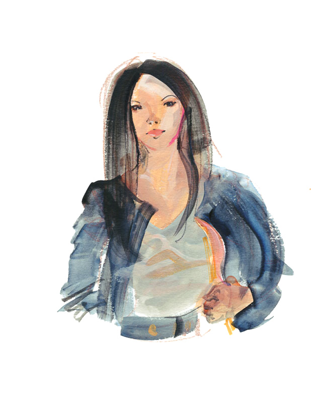 Fashion painted illustration of Casual Streetwear bomber jacket by June Sees