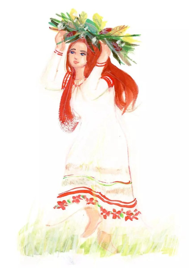 World Dance Illustration of Belarus dancer at Rusalle festival