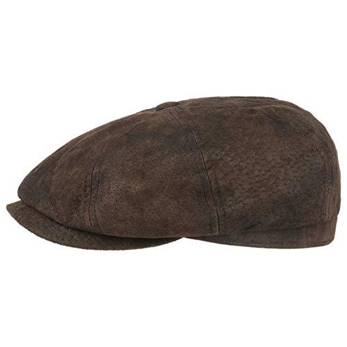 Stetson Hatteras Pigskin Flatcap Herren | Schirmmütze aus Leder | Schiebermütze mit Innenfutter | Mütze | Herrencap Sommer/Winter | Ballonmütze braun S (54-55 cm)