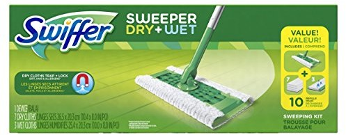 Image result for Swiffer Sweeper Cleaner Dry and Wet Mop Starter Kit for Cleaning Hardwood and Floors, Includes: 1 Mop, 7 Dry Cloths, 3 Wet Cloths