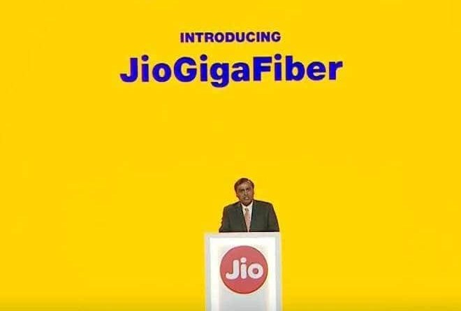 Mukesh Ambani in Jio Gigafiber launch event