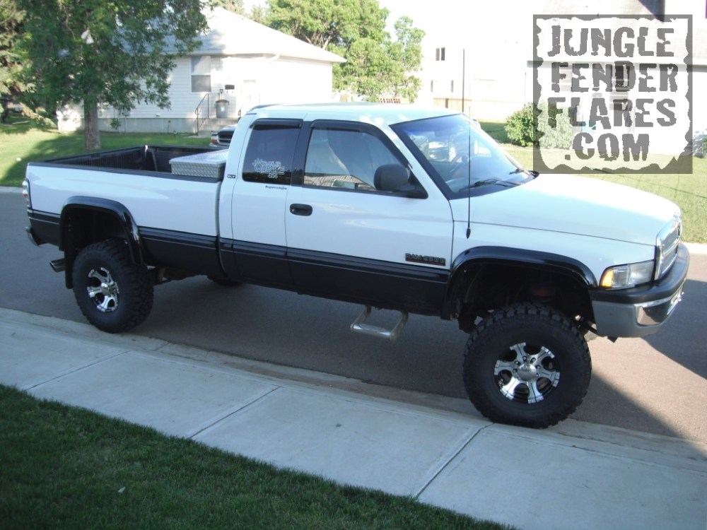 medium resolution of 1998 dodge ram with lift kit and wheel flares