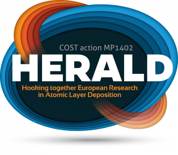 Logo of COST Action MP1402 – HERALD (Hooking together European Research in Atomic Layer Deposition)