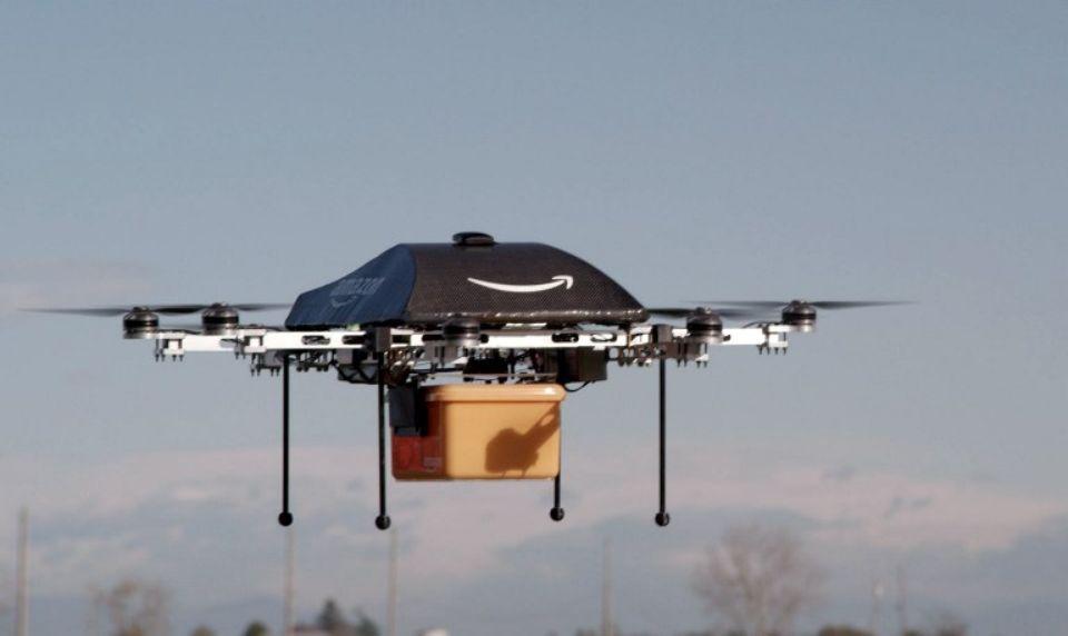 Image montrant un des drones de livraison du leader Amazon