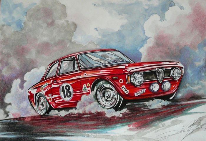 Dessin de Federico De Muro - Alfa Romeo Giulia 1962