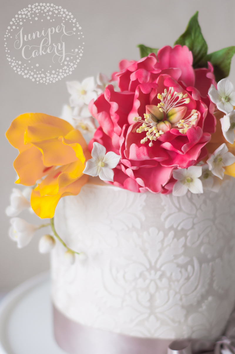 Sugar flower and damask single tier cake by Juniper Cakery