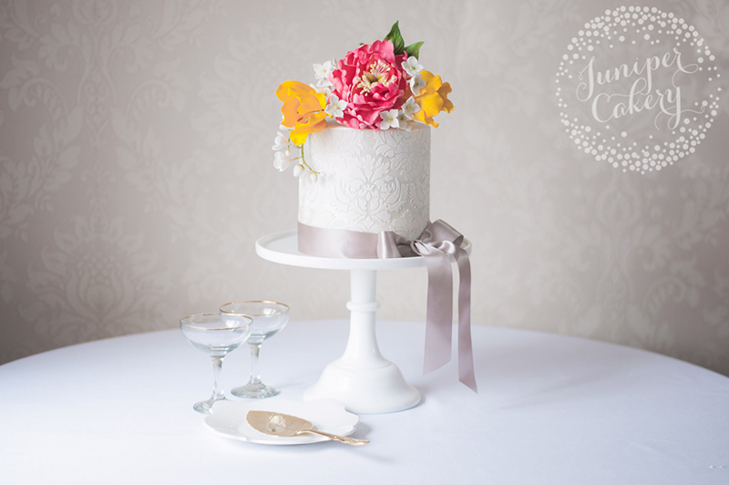 Damask and open peony cake by Juniper Cakery