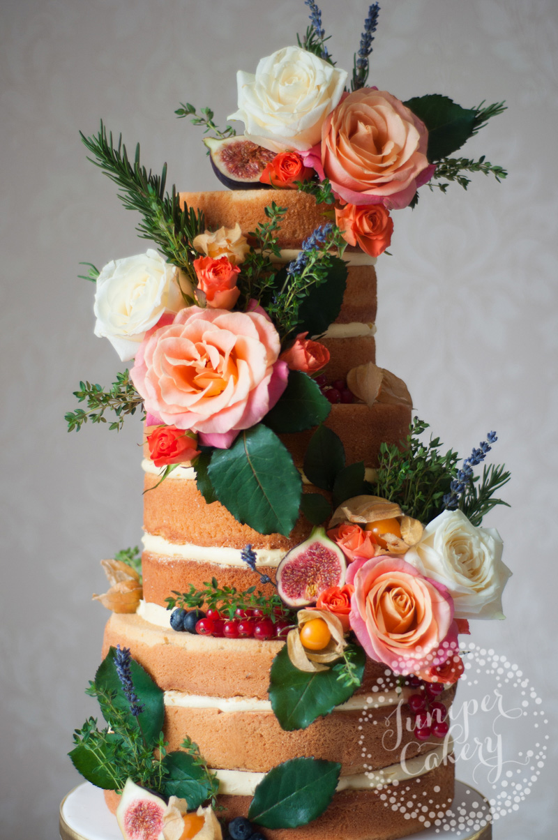 Naked wedding cake with figs by Juniper Cakery