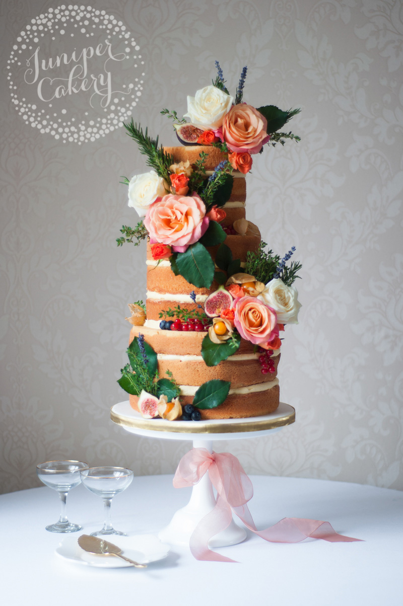 Autumn naked wedding cake by Juniper Cakery