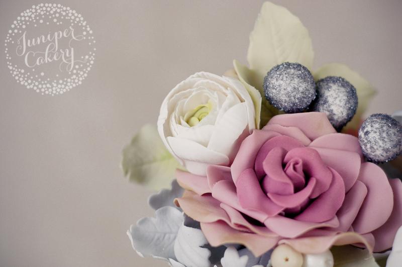 Winter themed macaron tower wedding cake made by Juniper Cakery