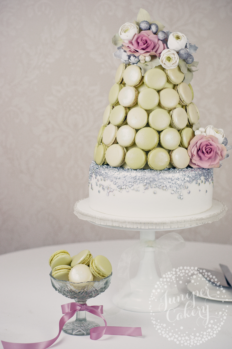 Lovely macaron tower wedding cake by Juniper Cakery