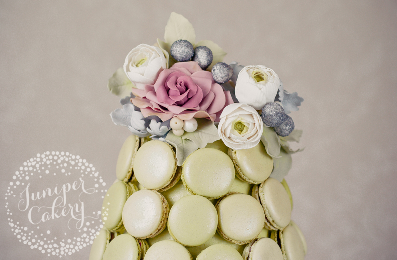Pretty winter macaron tower wedding cake by Juniper Cakery