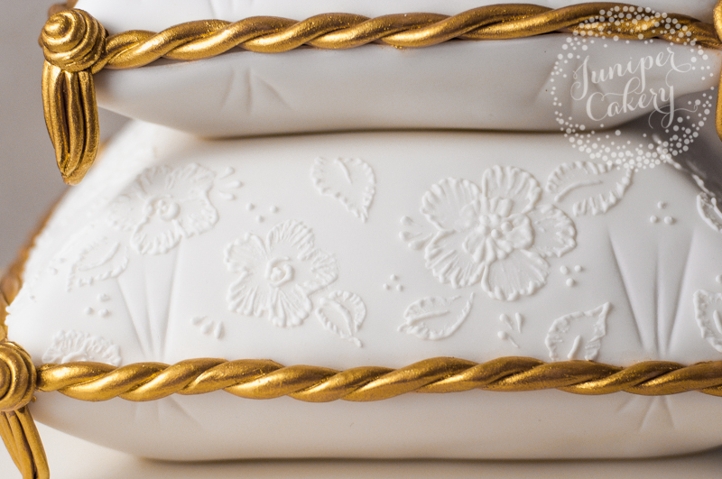 Brush embroidery detail cake by Juniper Cakery
