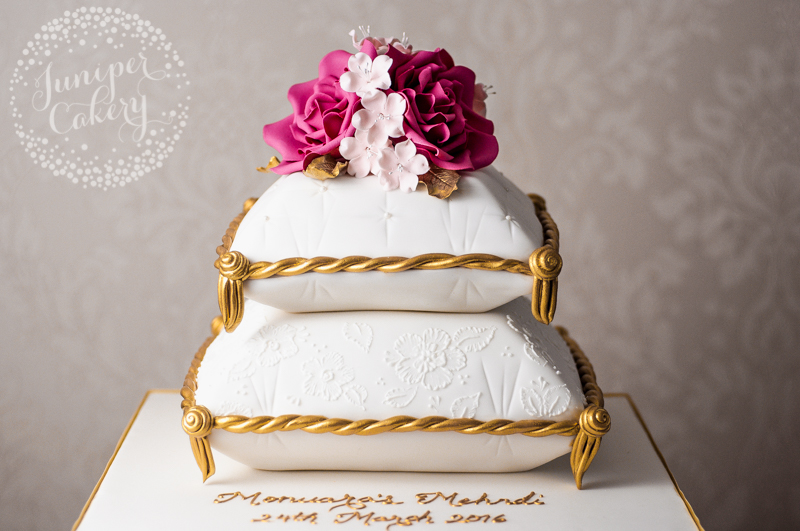 Cake For Mehndi Ceremony : Pink gold and white mehndi cake by juniper cakery
