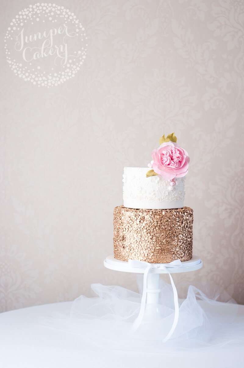 Marchesa lace inspired wedding cake by Juniper Cakery