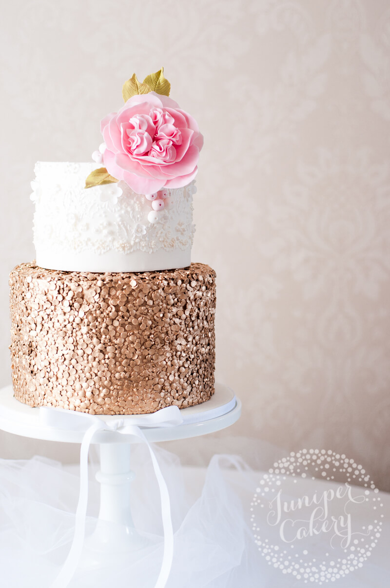 gold sequin and lace petite wedding cake by Juniper Cakery