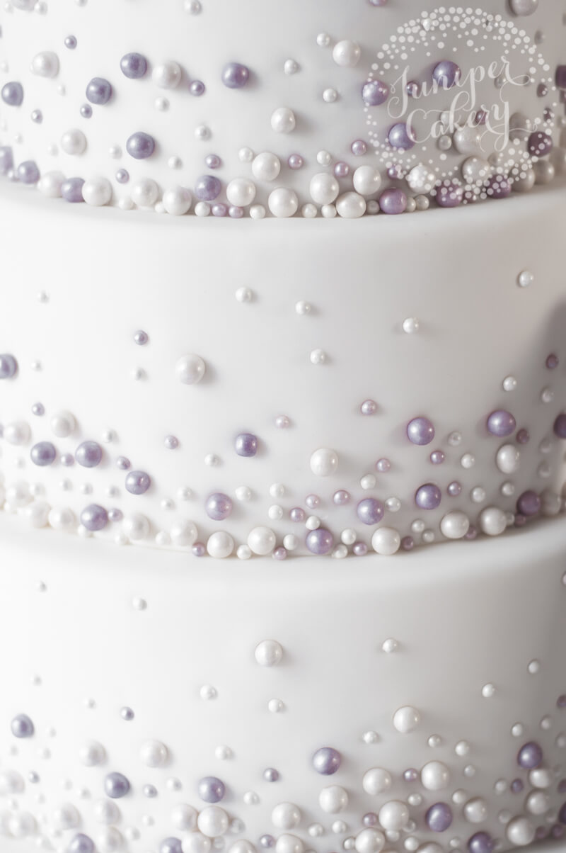 Lilac and pearl wedding cake by Juniper Cakery