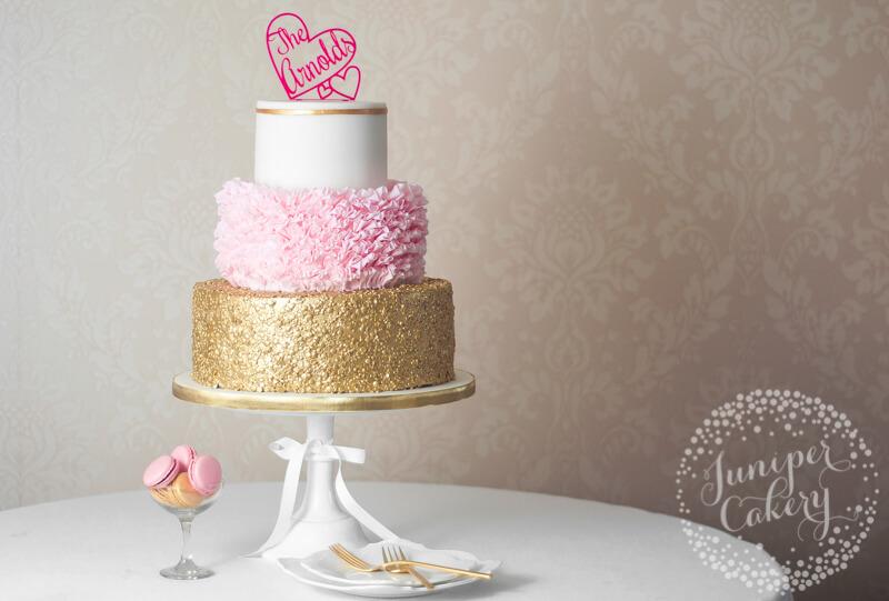 Pink ruffle wedding cake by Juniper Cakery