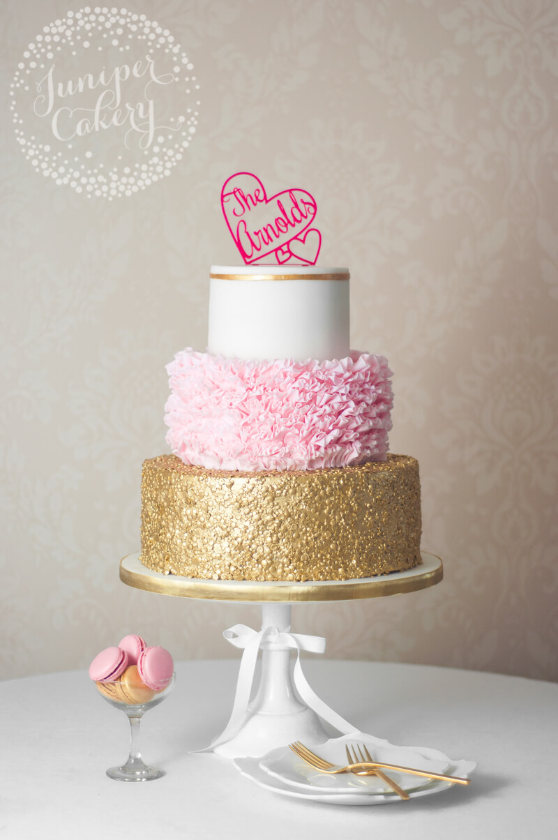 Glamorous Pink Ruffle And Gold Sequin Wedding Cake